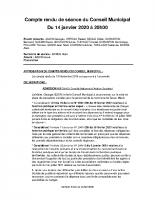 Compte Rendu du 14 janvier 2020